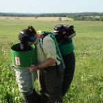 Checking the D-Vac at Schwartz Prairie (MO)